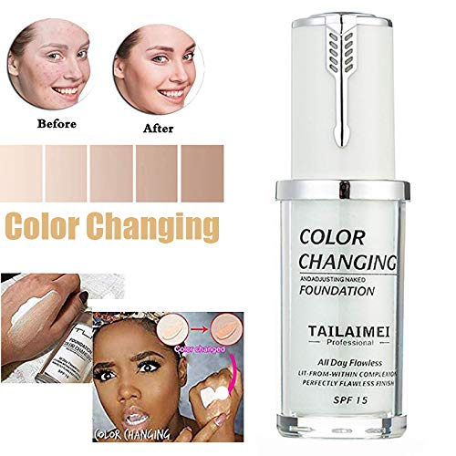 TLM Colour Changing Foundation,Concealer Cover Cream, TLM Flawless Colour Changing Warm Skin Tone Face Makeup Liquid Foundation Makeup Base Nude Face Moisturizing (Newest Version Green)