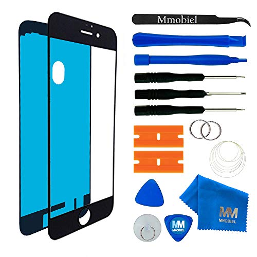 MMOBIEL Front Glass iPhone 7 (Black) Display Touchscreen incl 12 pcs Tool Kit/Pre-Cut Sticker/Tweezers/ Roll 2mm Adhesive Tape/Suction Cup/Metal Wire/Microfiber Cleaning Cloth from MMOBIEL