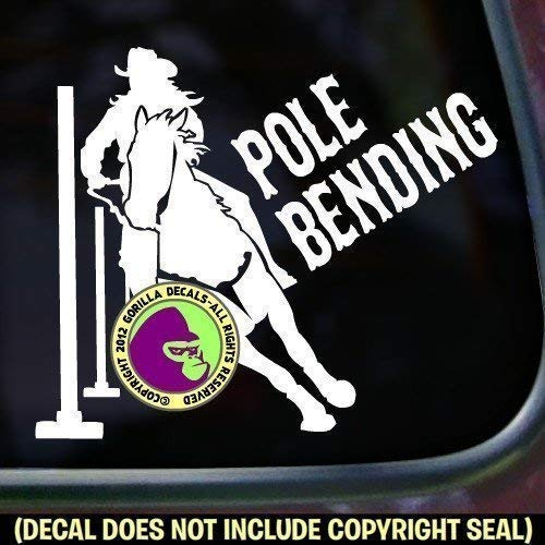 POLE BENDING Rodeo Girl Horse Rider Vinyl Decal Sticker E