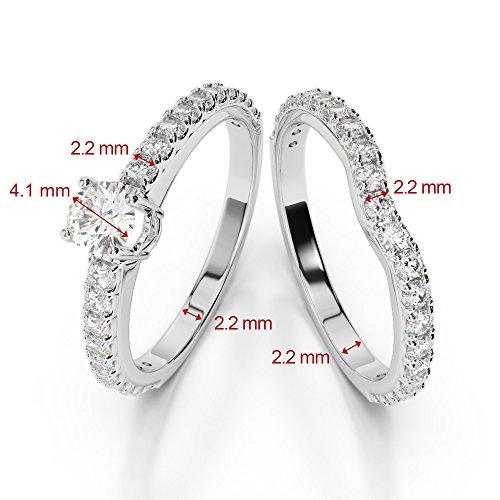 Or blanc 18carats 1CT G-H/VS sertie de diamants Coupe ronde de mariage Bague de fiançailles et ensemble de Agdr-2055
