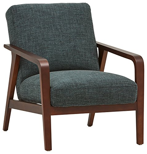 """Rivet Huxley Mid-Century Modern Accent Chair, 28.3""""W, Marine Blue - This mid-century modern chair is reminiscent of the Mad Men era. The curved solid wood frame and comfortable seating make this chair ideal for the living room or home office. 35""""D x 28.3""""W x 33.9""""H Solid wood frame and polyester/linen/cotton fabric - living-room-furniture, living-room, accent-chairs - 514p6xtsJmL -"""