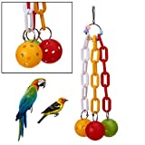 Pet Bird - Colorful Parrot Chew Pet Bird Toys Bites Plastic Alec Chain Ball Swing Cage Hanging Cockatiel - Millet Gifts Care Set Stocking Stands Gravel Urns Stand Bowl