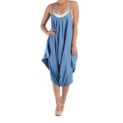 American Bazi Women's Washed Denim Drape Jumpsuit AJH3041 - D6D