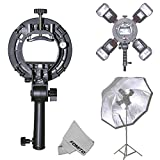 Fomito SIII Flash Bracket Grip Handle with 4 Speedlite Cold Shoe Mount Adapter for Bowen Mount Snoot Softbox Beauty Dish Honeycomb Grid Reflector Umbrella