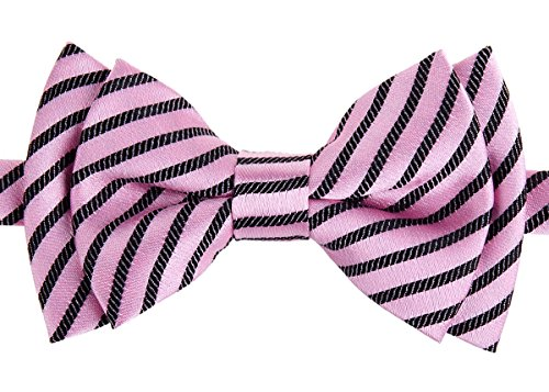 Retreez Modern Stripe Woven Microfiber Pre-tied Boy's Bow Tie - Pink with Black Stripe - 6 - 18 months