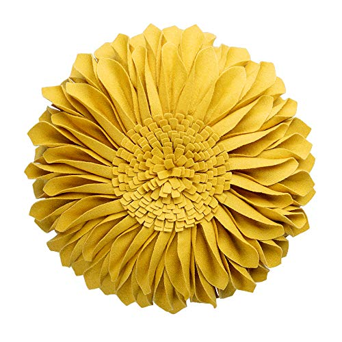 (JWH Handmade 3D Flowers Accent Pillow Round Sunflower Cushion Decorative Pillowcase with Pillow Insert Home Sofa Bed Living Room Decor Gift 12 Inch / 30 cm Cotton Canvas Wool Yellow)