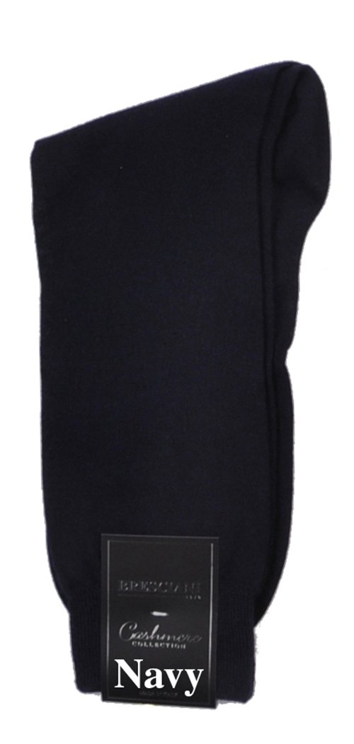 Bresciani Men's 100% Pure Cashmere Crew Dress Socks-1 Pair Navy
