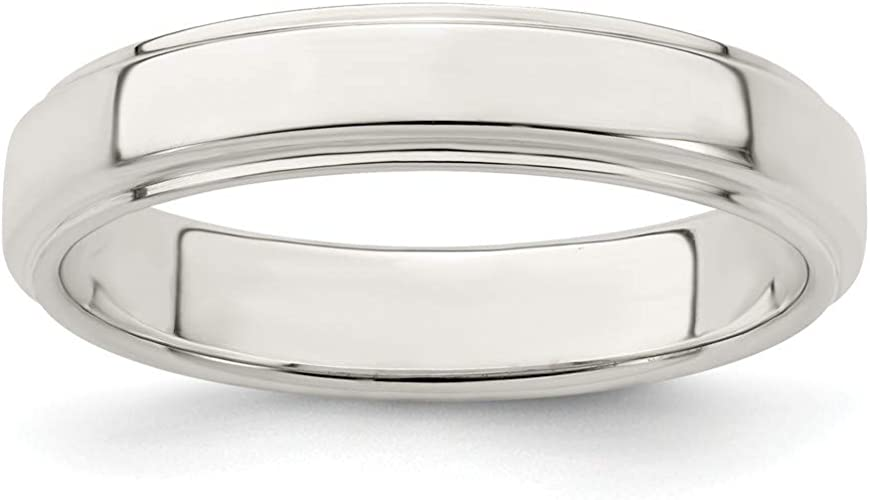 925 Stamped Sterling Silver 12mm Flat Wedding Ring Band