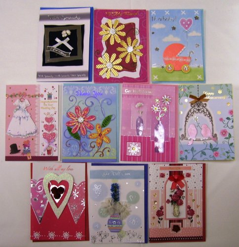 Handmade Greeting Cards Assorted Occasions 10 Pack