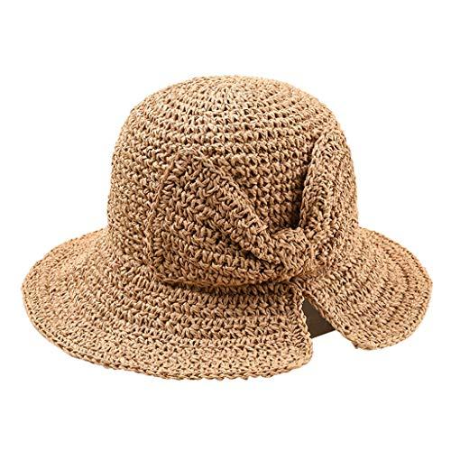 Womens Straw Hat Wide Brim Floppy Beach Cap Adjustable Sun Hat for Women UPF 50+ -