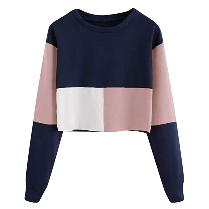 8e041a93 HARRYSTORE Women Cropped Hoodie Sweatshirt Jumper Sweater, Girl Long Sleeve  Crop Top Pullover Tops: Amazon.co.uk: Clothing