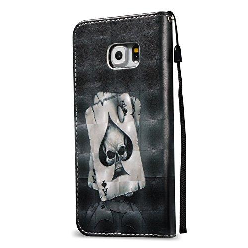 [Flip Case Cover] Funda Samsung S6 Edge Carcasa Sunroyal® Ultra Slim PU Leather Cuero Cobertura Bookstyle Wallet Cubierta Con [Función de Soporte] [Cierre Magnético] [Billetera con Tapa para Tarjetas] A-04