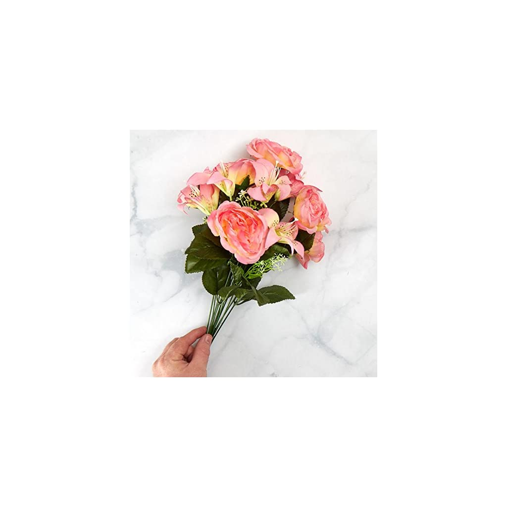 Factory Direct Craft Colorful Pink Poly Silk Rose and Lily Mixed Floral Bush | for Indoor Decor