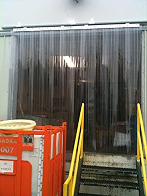 7 ft Frosted 8 in Strip-Curtains.com: Strip Door Curtain width X 84 in. 108 in. common door kit strips with 50/% overlap height Hardware included 9 ft
