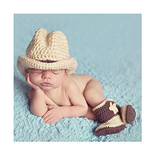 Cowboy Baby Costumes (Lovely Newborn Infant Cowboy Hat Boots Crochet Knitted Costume Baby Photography Props)