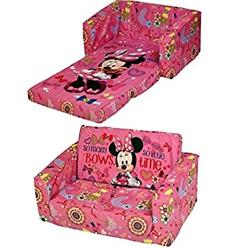 Cartoon Character Childrens Flip Out Double Foam Sofa Settee Kids Lounger  Couch Bed Seat (Disney