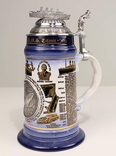 Titanic Stein - Limited Edition #412/5000 Glazed Stoneware w/Pewter Made in Germany 26 oz.