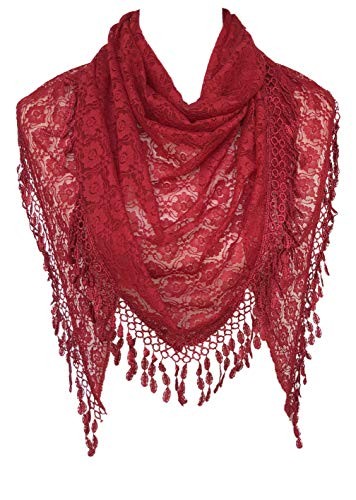 Cindy & Wendy Lightweight Triangle Floral Fashion Lace Fringe Scarf Wrap for Women (RED-8XH)]()
