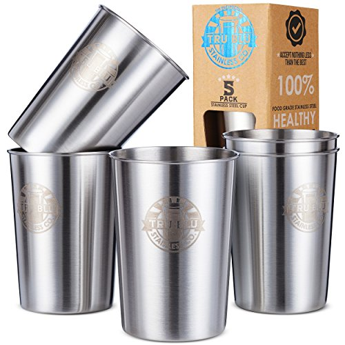 Stainless Steel Cups 10oz (Pack of 5) Great for Kids - Metal Drinking Glasses - Premium Stackable & Unbreakable by Tru Blu Steel