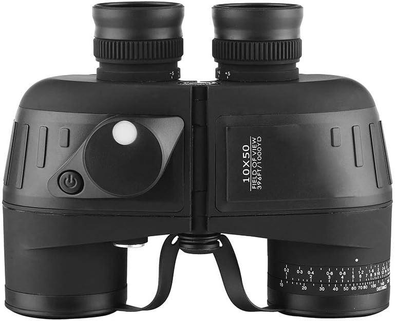 ZYD 10X50 prismáticos con telémetro Brújula Bak4 Prisma de Caza Navegación Observación de Aves Marina Militar Telescopio Impermeable