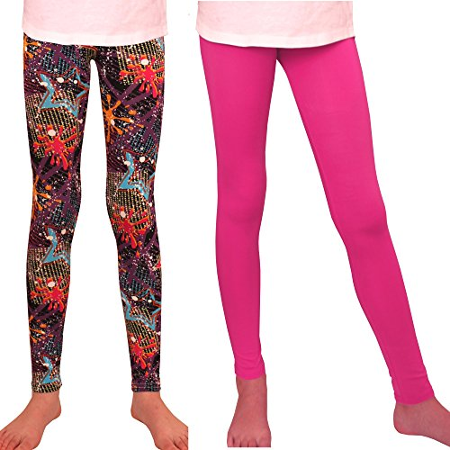 Syleia Girl Leggings High Rise 2 Pairs Patterns and Solid Colors Great Stretch (Stars +Pink) (Large)