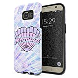 Glitbit Compatible with Samsung Galaxy S7 Edge Case Mermaid Seashell Paua Abalone Queen Princess Of The Ocean Pastel Purple Aesthetic Shockproof Dual Layer Hard Shell + Silicone Protective Cover