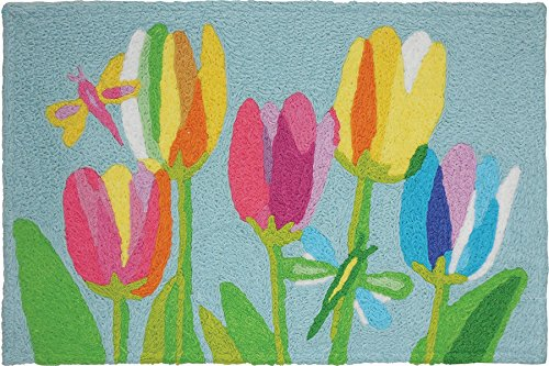 Jellybean Tulips & Dragonflies Accent Rug