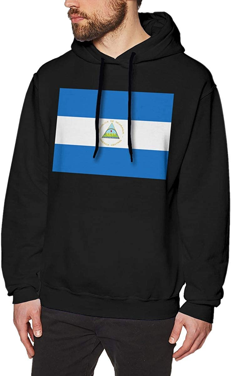 Mens Hoodies Flag of Nicaragua Funny Pullover Hooded Print Sweatshirt Jackets