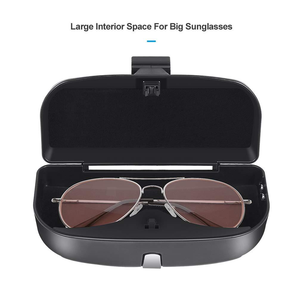 Jevogh GR23 Auto Sonnenbrillenetui Karteneinschub Brilleneinstecker M/ünzenhalter Aufbewahrungstasche f/ür Auto Sonnenblende Brillenhalter Box mit magnetischem Saugnapf einfache Montage