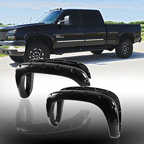 4pcs Front and Rear Smooth Black Aftermarket Pocket Riveted ABS Fender Flares for 1999-2006 Chevy Silverado / GMC Sierra 2007 Classic Body 1500 / 1500 HD / 2500 HD / 3500 Fleetside Bed
