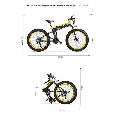 GTYW Bicicleta Eléctrica Grasa Neumático 26 Pulgadas Todo Terreno Plegable Eléctrica Nieve Bicicleta De Montaña 5 Engranaje Bicicleta Asistida Bicicleta ...