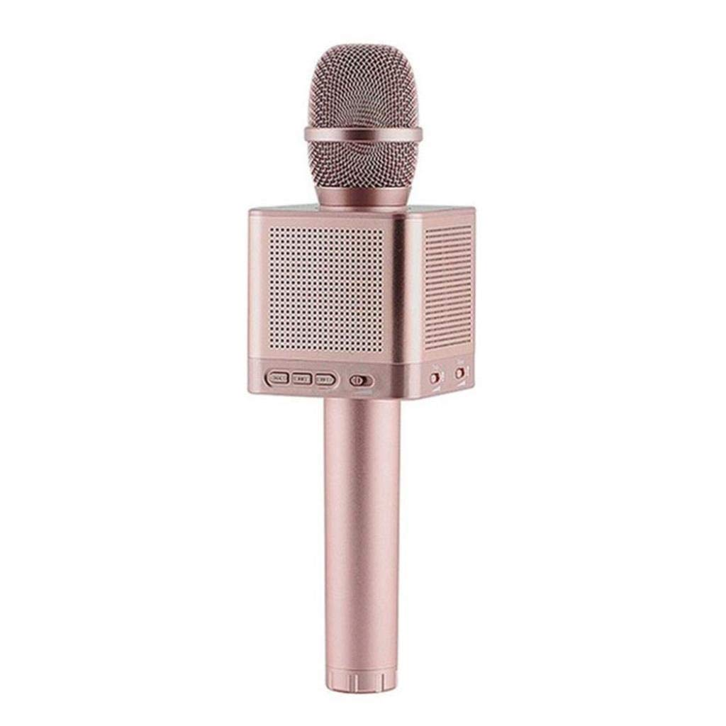 Rsiosle Wireless Bluetooth Karaoke Microphone Portable Home KTV Karaoke MIC with 4 Speakers Voice Change Compatible with Android and iOS ( Color : Pink )