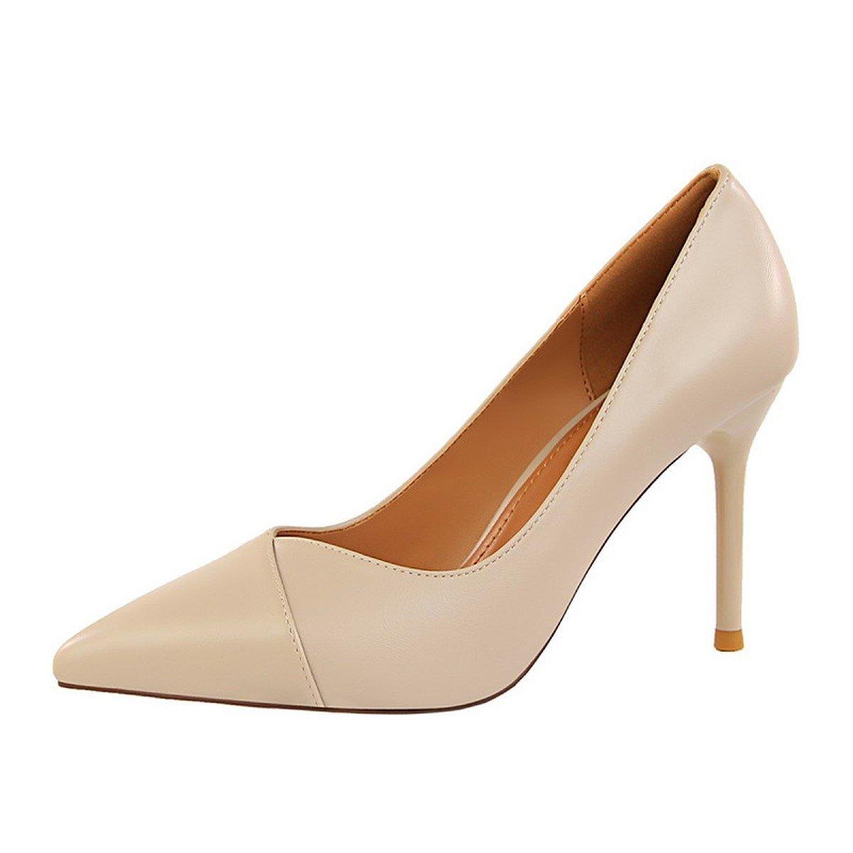 DIMAOL Damenschuhe Kunstleder Frühling Herbst Komfort Heels Stiletto Heel Schuhe für Kleid Mandel Rot Grau Schwarz