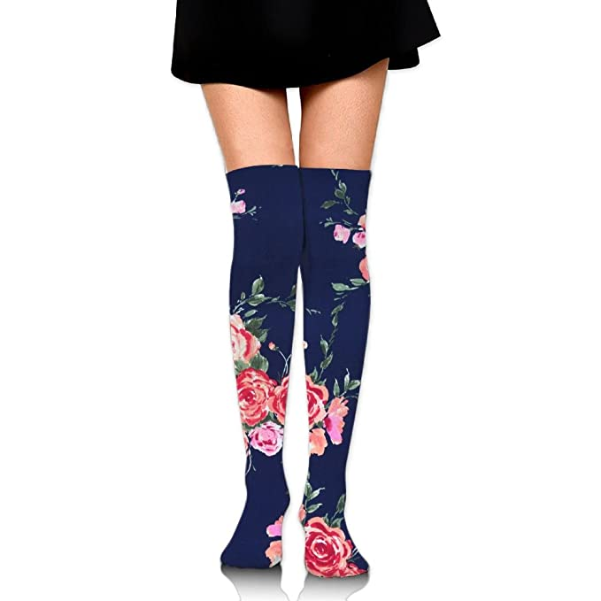 13579316c Image Unavailable. Image not available for. Color  Women s Long Socks Rose Navy  Floral Long Over Knee ...
