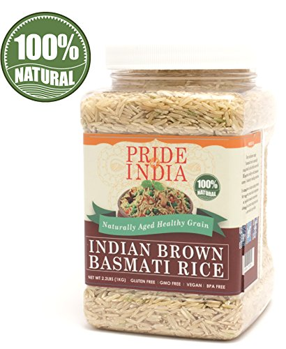 Price comparison product image Pride Of India - Extra Long Brown Basmati Rice - Naturally Aged Healthy Grain,  2.2 Pound (1 Kilo) Jar