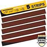Flexible Magnetic Tape - 5 PCs Magnetic Strips with Strong Self Adhesive TESA - 1.26 x 12 Inch each Strip - Peel & Stick Magnetic Roll for Craft and DIY - Sticky Magnets for Fridge and Dry Erase Board
