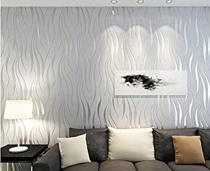 Ayzr Tv Background Wall Modern Simple Wave Striped Wallpaper Bedroom  Wallpaper,Gray