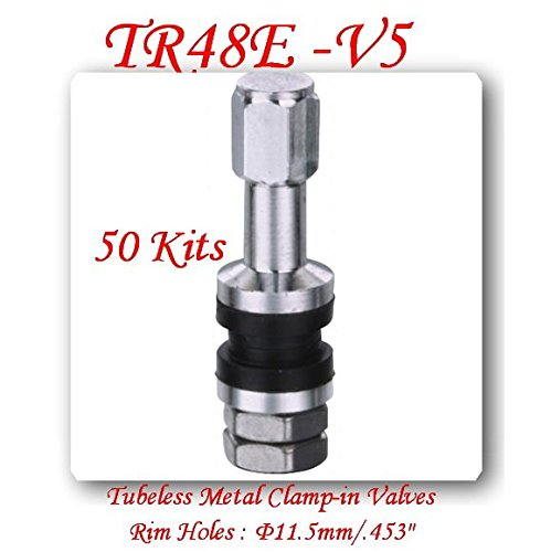 (Lot of 50) TR48E Flash Mount High Pressure Tubeless Metal/Chrome Clamp-in tire Valve by VPro