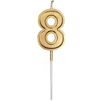 Gold Happy Birthday Candles 0 9 Molded Number For Party Time Special Day