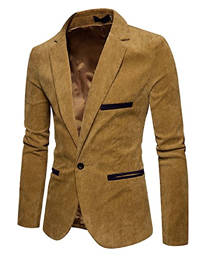 Mens Long Sleeve Regular Fit Corduroy Lapel Casual Blazer Jacket One Button Coat