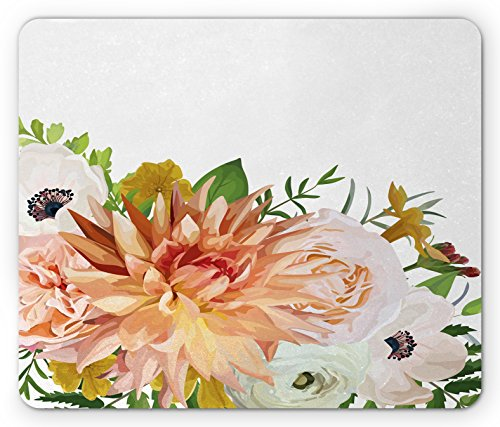 Khaki Mix (Anemone Flower Mouse Pad by Ambesonne, Garden Rose Dahlia Forest Meadow Bedding Plants Leaves Mix, Standard Size Rectangle Non-Slip Rubber Mousepad, Salmon Fern Green Khaki)