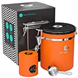 Coffee Gator Stainless Steel Container - Canister with co2 Valve, Scoop and Travel Jar - Medium, Orange