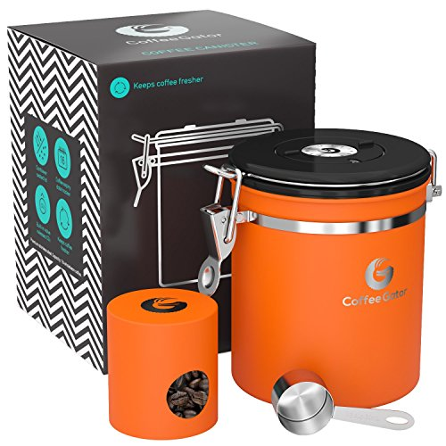 Coffee Gator Stainless Steel Container - Canister with Travel Jar, co2 Valve, Scoop and eBook - Medium, Orange Orange Cannister