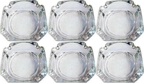 - Set of Elegant Round Glass Ashtrays - Beautiful Thick Quality Glass - Perfect for Indoor, Outdoor and Every Room in the House! (6)