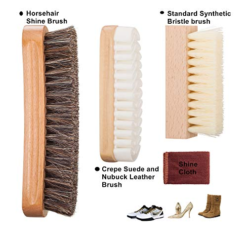 Shoe Brush Kit with 100% Horsehair Bristles Shoe Brush, Shoe Cleaning Brush, Crepe, Suede Nubuck Brush for Leather, Bags, cloth clean - 3 PACK from chuanyuekeji