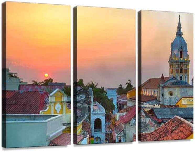 Sunset Over Cartagena 3 Pieces Print On Canvas Wall Artwork Modern Photography Home Decor Unique Pattern Stretched and Framed 3 Piece