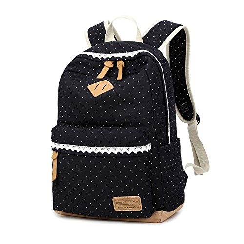 Black Ladies School Dot Lightweight Style Backpack Daypack lace Marsoul Backpack Bags Casual Fashion Travel Canvas Shoulder Polka Korean Canvas Laptop xwg0tWqvH