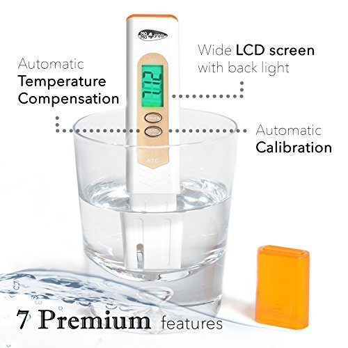''7 Premium'' Portable Pocket PH meter/Pen PH Tester And Temp High Accuracy, ATC, Back-Light - Buffer Powder - For Drinking Water, Hydroponics, Aquariums, Swimming Pools, Beer, Wine Or Cheese Production