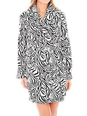 MIXIT Womens Soft Plush Zebra Striped Robe Short Housecoat