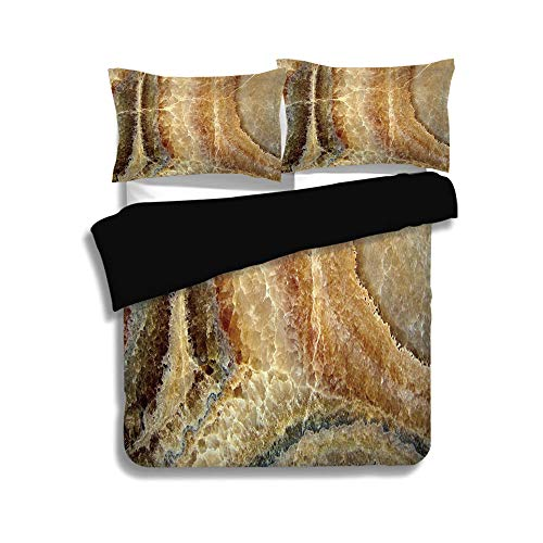 Black Duvet Cover Set Queen Size,Marble,Onyx Stone Surface Pattern Banded Variety Layered Differing Lines Image Decorative,Sand Brown Cinnamon,Decorative 3 Pcs Bedding Set by 2 Pillow ()